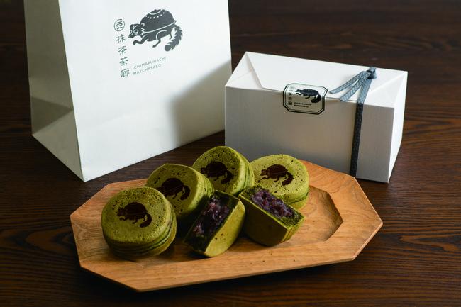 抹茶を練りこんだ自家製生地の今川焼です。箱入りの5ヶセットはお持たせにもお使いいただけます。