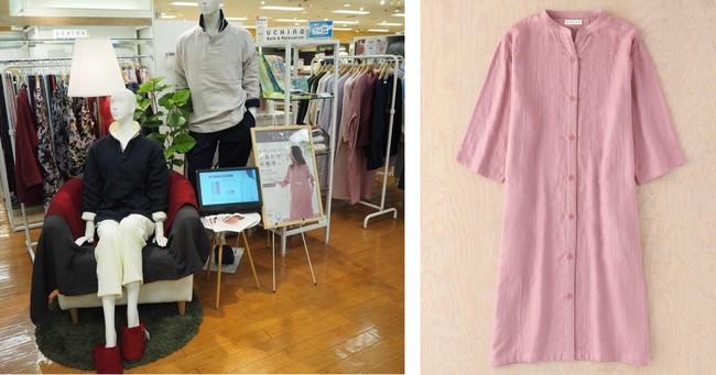 (写真右)ウチノ「マシュマロガーゼ ボタンあきワンピース」12,100円