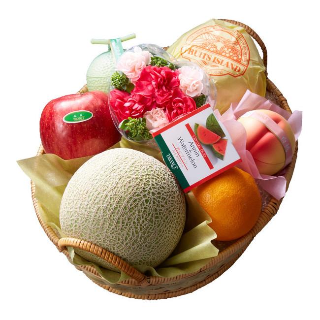 果物4種各1個、スイーツ3種各1個、フラワーアレンジメント