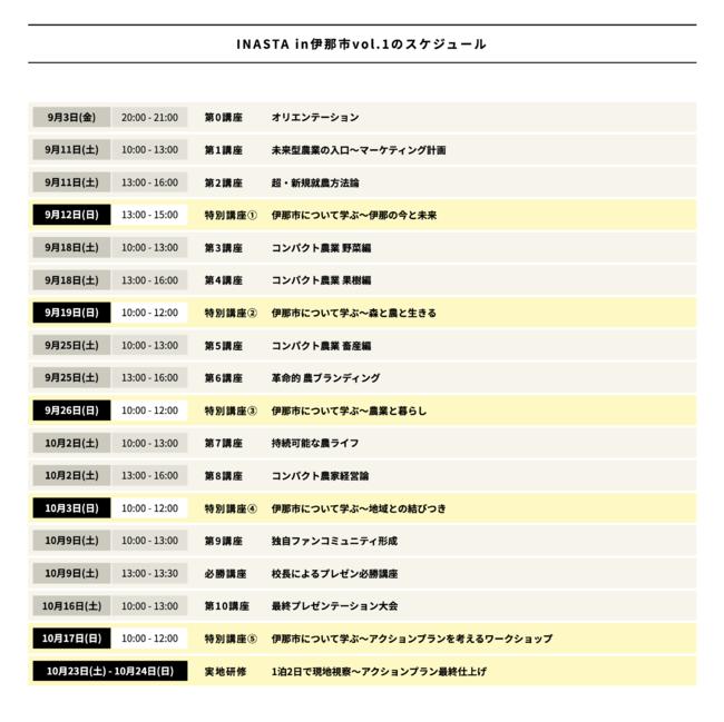 INASTA in伊那市vol.1スケジュール
