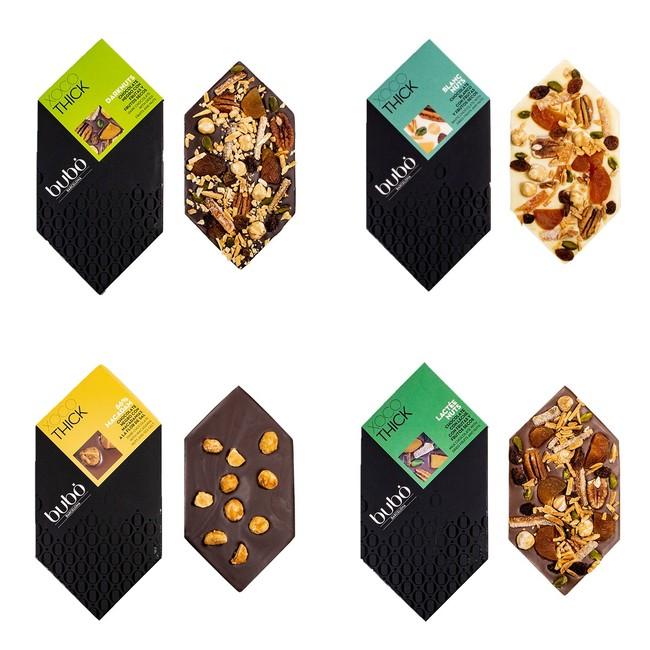 左上からダークナッツ、ブランクナッツ、左下からマカダム66%、ラクテナッツ