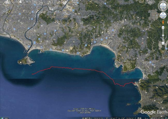 1mクラスによる葉山港~江ノ島間、約7kmの自然風のみによる自動航行の軌跡