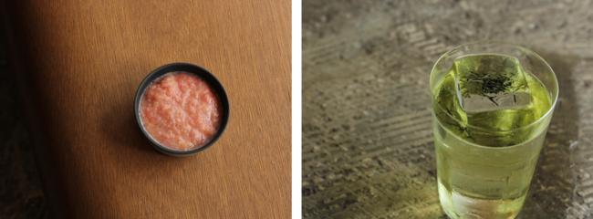 店舗で熟成させた発酵トマト(左)、煎茶のジントニック 700円(右)
