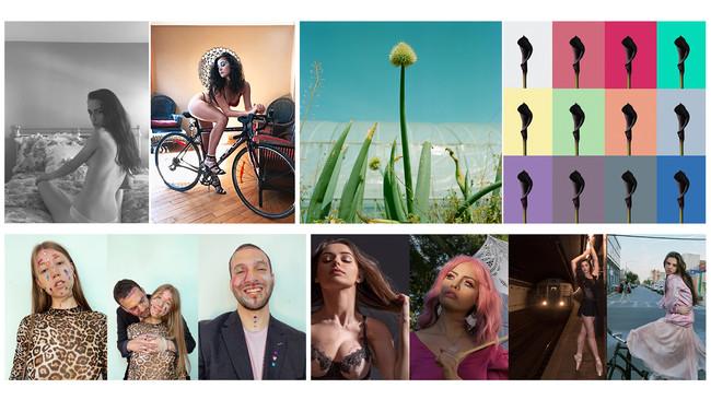 Online Photo Shoots(左上下)、「Green Onion」「Calla~カラーの花」(右上)「輝くチカラ」(右下)