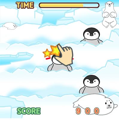 ペンギンをなでる「もぐらたたき」タイプのゲーム
