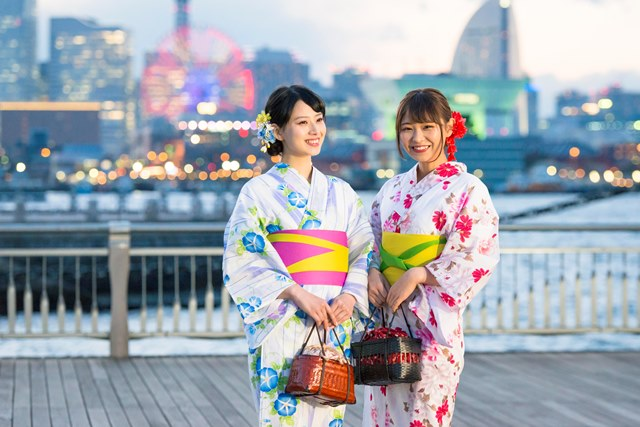 浴衣はそのまま着て帰れるので横浜観光を楽しめます