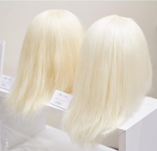 Hair Medulla Care 左 処理前、右 処理後