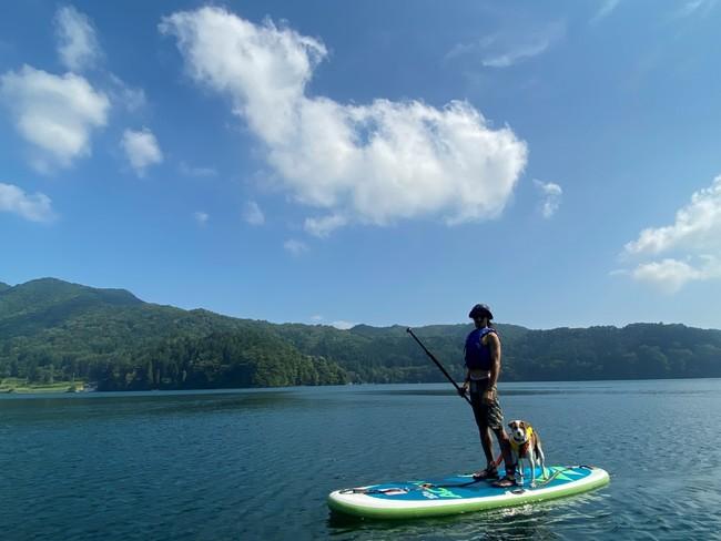 野尻湖で愛犬とSUP