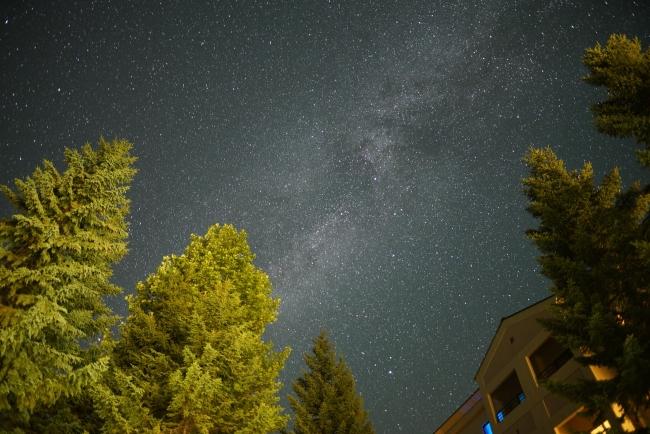 グランデコスノーリゾート(ホテル前)の星空)
