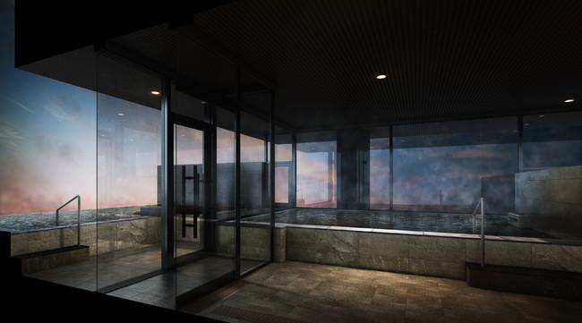 最上階の露天風呂付温泉大浴場
