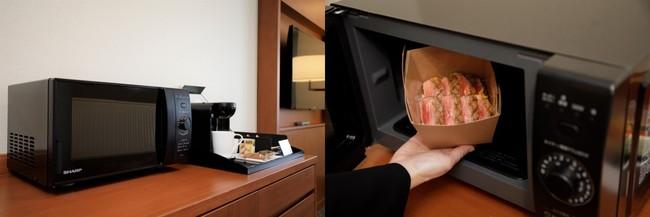 おこもりテレワークに便利な電子レンジやコーヒーマシーンも設置