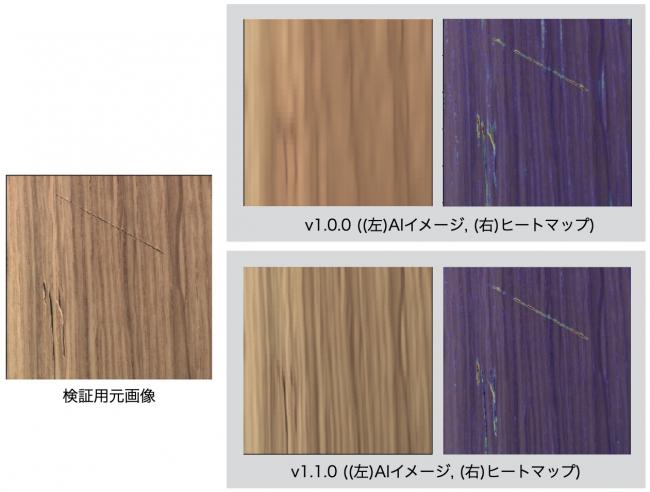 図2:バージョンによる変化(切り傷が有る木製製品)