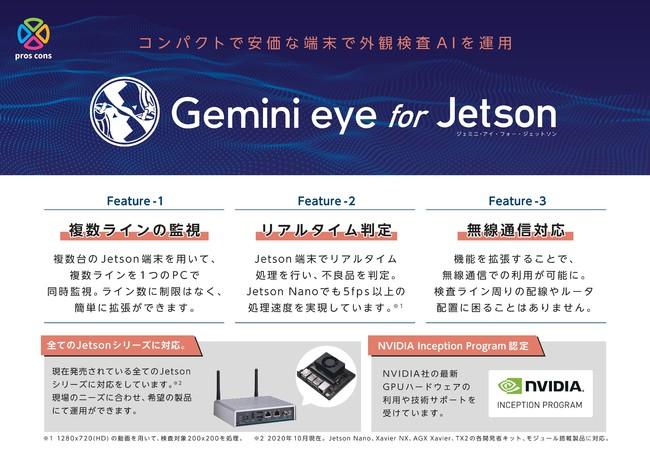 コンパクトで安価なJetson端末で外観検査を行うことができるGemini eyeの拡張ソリューション。