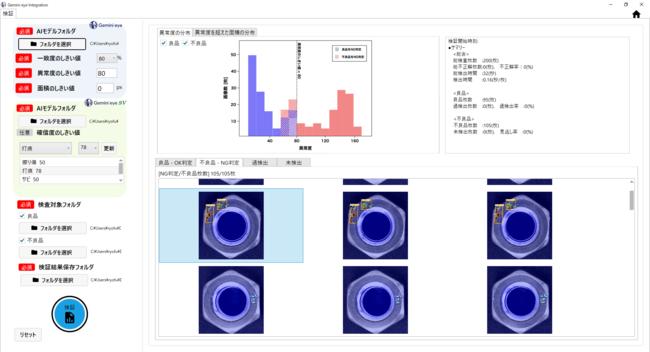 「Gemini eye」「Gemini eye SV」のAIモデルを用いて総合的に判定。