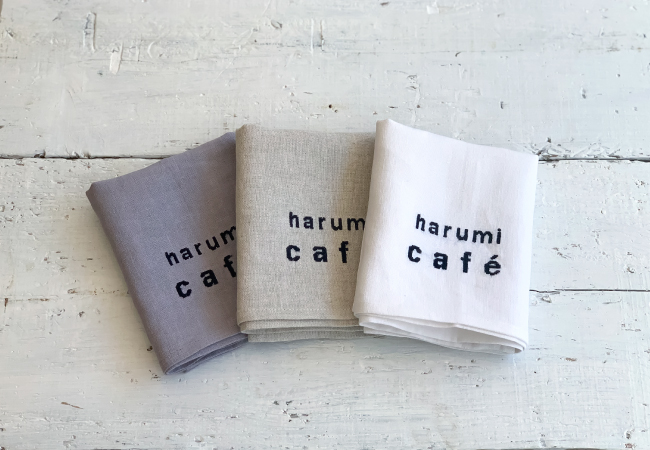 リネンキッチンクロス harumi cafe 刺繍(写真はイメージです)