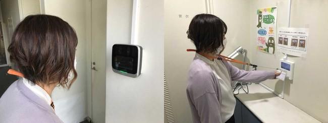 左:虹彩認証入退館システム 右:ICカード出退勤システム