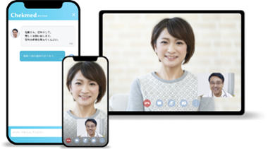 <オンライン相談イメージ画像>(左はオンラインチャット、右はビデオチャットのイメージ画像)