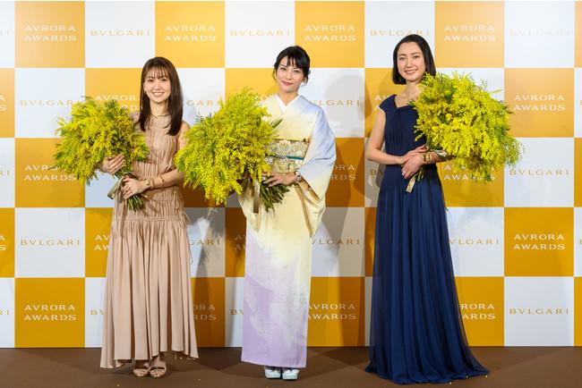 左から:女優の大島優子さん、女優の柴咲コウさん、ジャーナリストの伊藤詩織さん