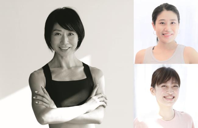 パーソナルトレーナーKAORU(左)のメソッドを体現するスタジオアプロのトレーナー(右上YUKIE,右下ERI)が担当