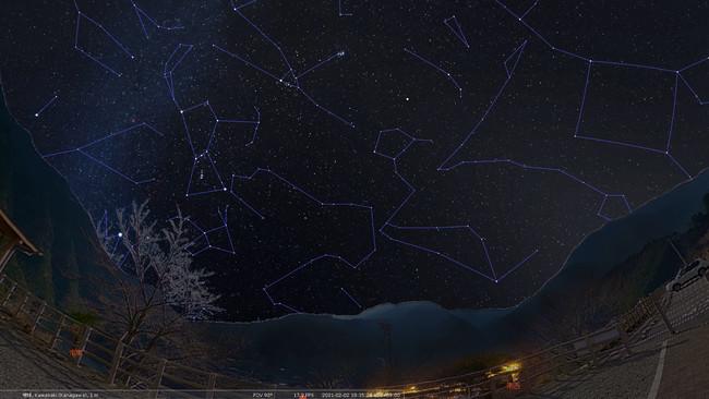 プラネタリウムで再現した川上村の景色と星空