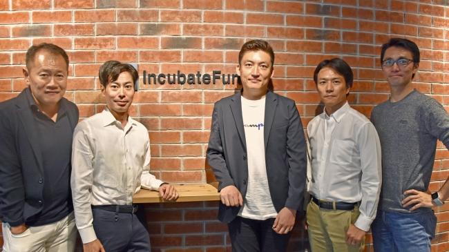 左から:代表パートナー赤浦、  代表パートナー和田、  CGO北尾、  代表パートナー本間、  代表パートナー村田