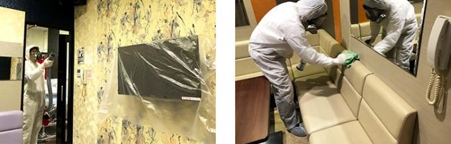 ※『カラオケボックス』での噴霧消毒・拭き取り消毒作業