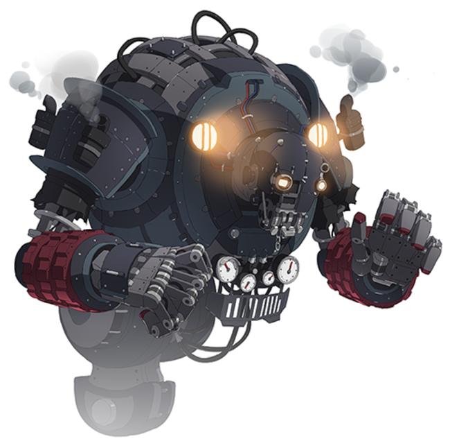 新ワールドレイドボス「ザ・ドゥーム」。  スチームを噴き出していたり、  所々に機械のようなパーツが見受けられる。