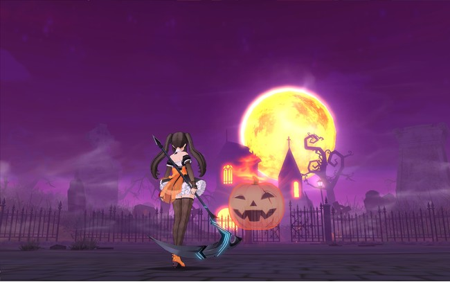 イベントメイズ「ムーンライトパーティ」の様子。紫色の空に浮かぶ大きな月が印象的だ。