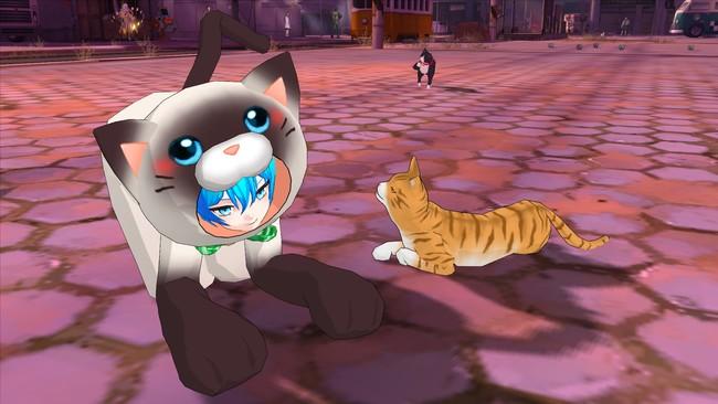 「ねこの着ぐるみ」専用ジェスチャー:猫になりきってツーショット!