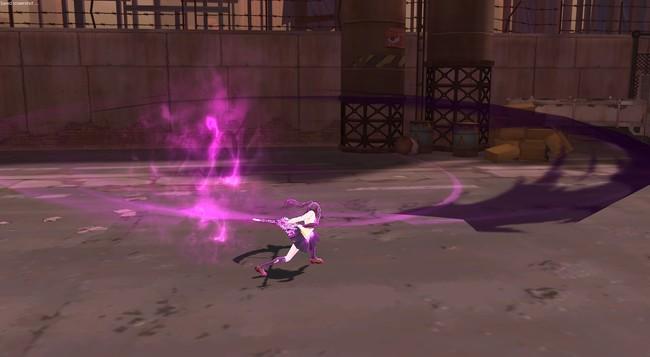 スキル「グリムカウントダウン」:回転しながら敵を押し出した後、召喚した死神とともに前方の敵を切り裂くぞ!