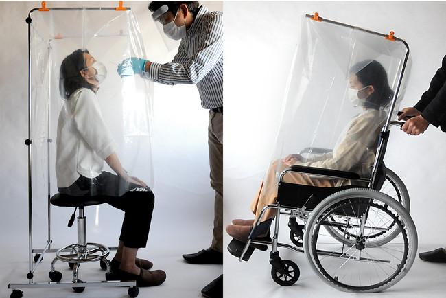 左:鼻腔検査用エアロゾルカバーフレーム、右:車いす用エアロゾルカバーフレーム