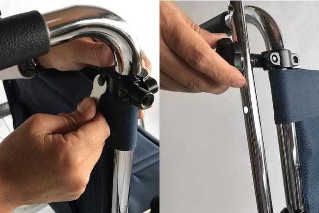 フレームは、車いすに専用固定具で固定し、3段階の高さ調節が可能