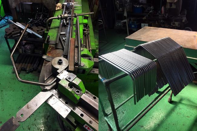 ベビーカーや車いすのフレーム加工も手掛ける工場でのフレーム製作