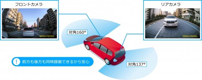 カロッツェリア ドライブレコーダー 前方走行映像に加えあおり運転も逃さず記録「ダブルレコーディング機能」搭載(図「VREC-DZ700DLC」)