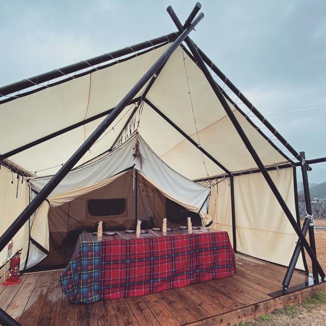 テントは4名まで宿泊可能