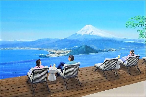 富士山・駿河湾・空・水盤が一体になったシート(完成イメージ)