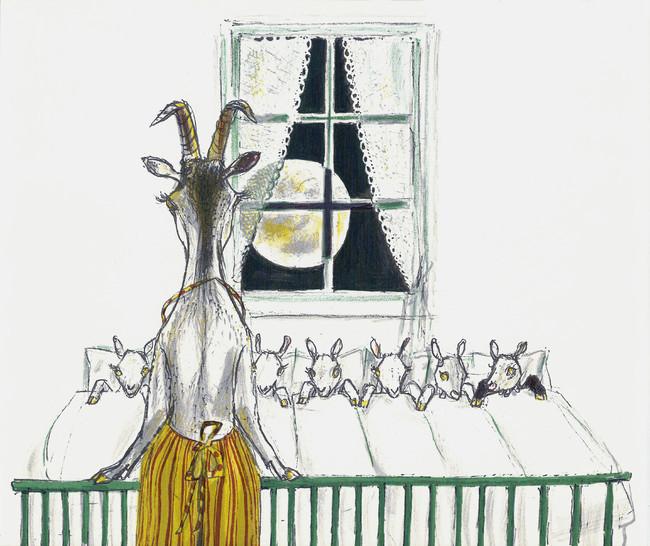 フェリックス・ホフマン 絵本『おおかみと七ひきのこやぎ』より 小さな絵本美術館蔵 (C)フェリックス・ホフマン