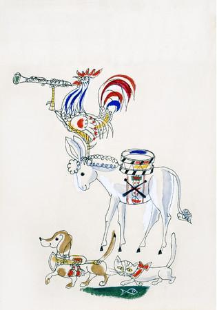 ハンス・フィッシャー 絵本『ブレーメンのおんがくたい』より 小さな絵本美術館蔵 (C)ハンス・フィッシャー