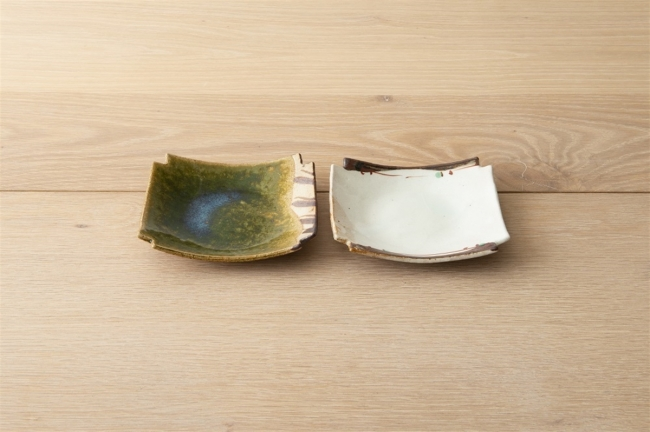 織部鉄錆四角銘々皿 /赤絵鉄絵四角銘々皿 各¥1,800