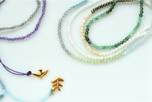 「I am」donation bird bracelet 4,400yen (with tax)、 「I am」donation leaf bracelet 4,400yen (with tax) /各10色展開