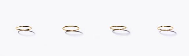 <[basic] K10 skinny ring 各13,200yen (with tax)/K10YG+K18YG plating>