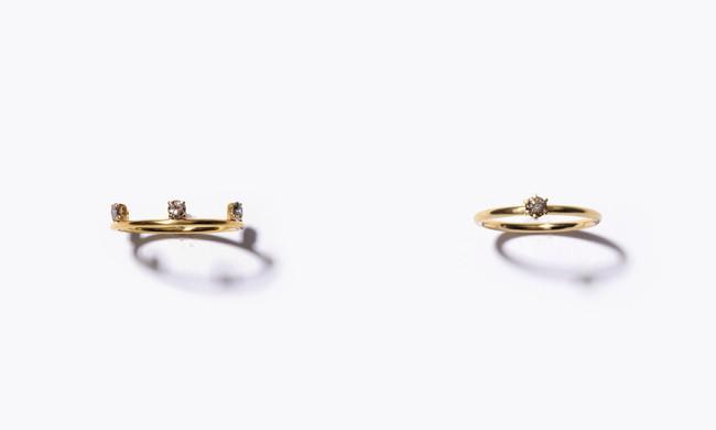 <[anise] K10 brown diamond ring 39,600yen (with tax), 27,500yen (with tax)/K10YG+K18YG plating, Diamond>