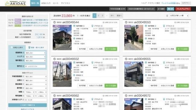 空き家活用データシステム「AKIDAS(アキダス)」の画面