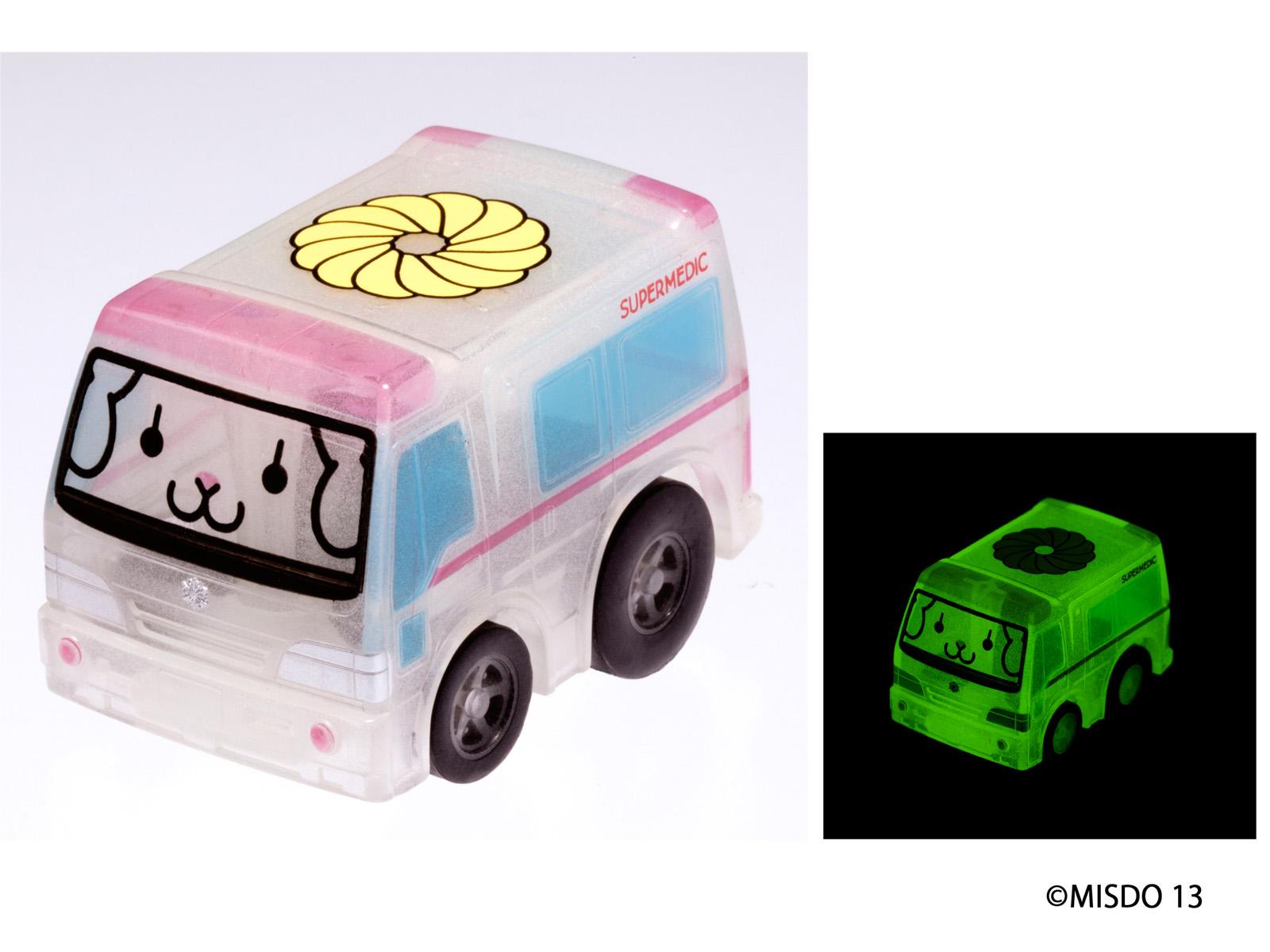 【ミスタードーナツ】『くらやみでひかるチョロQ』2種新登場 フレンチウーラー「きゅうきゅうしゃ」、ハニーシッポ「ミニパトカー」
