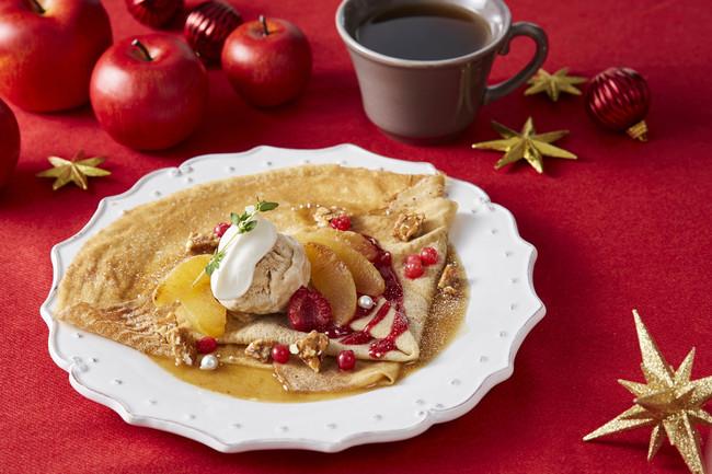 ライ麦のクレープ 焼きりんごとキャラメルトフィーのカルバドスソース