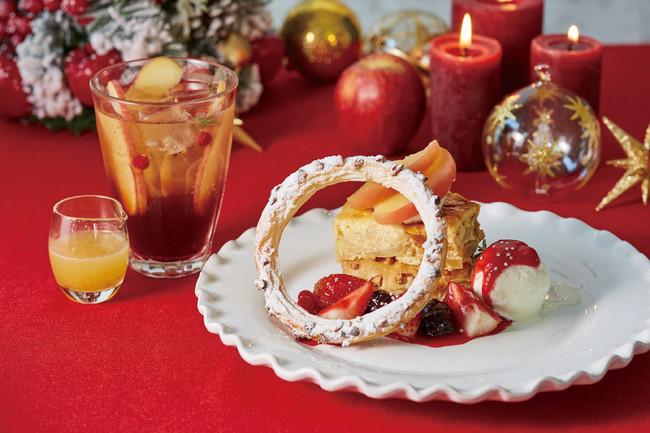 林檎とベリーのアップルパイプディング+林檎とゆずのスパークリングティー