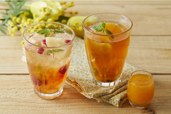 ピーチアールグレイのティーソーダ+フレッシュオレンジとパッションフルーツのアイスティー
