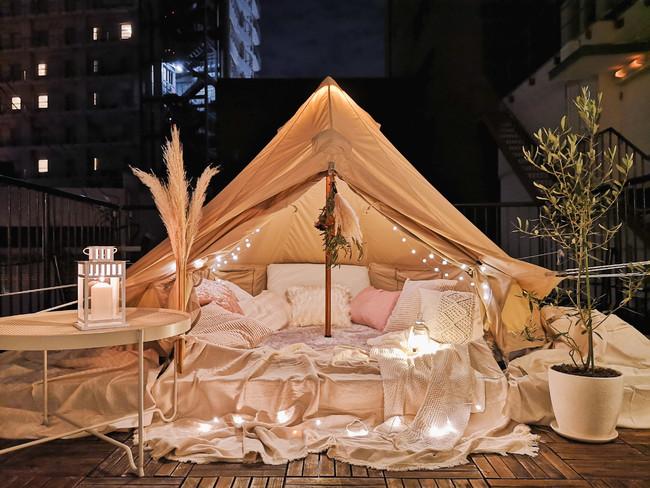 神戸で初の屋上グランピング。ホットカーペット、電気毛布を完備。