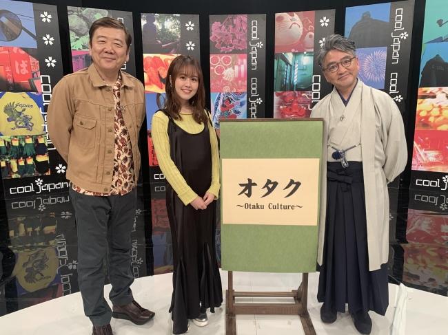 収録後記念撮影(写真左から鴻上尚史さん、日岡なつみさん、中村伊知哉教授)