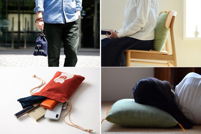 合財袋(左)は、ポーチやバッグインバッグ、そのまま手提げとしてなど用途はいろいろ。小座布団(右)は、クッションやお昼寝枕としてもちょうど良い。